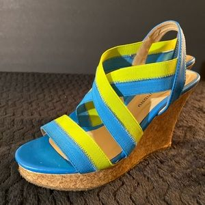 CL bY LAUNDRY BLUE AND LIME GREEN WEDGES SHOES 6.5